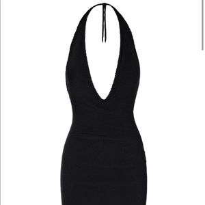 Black halter dress with cardigan